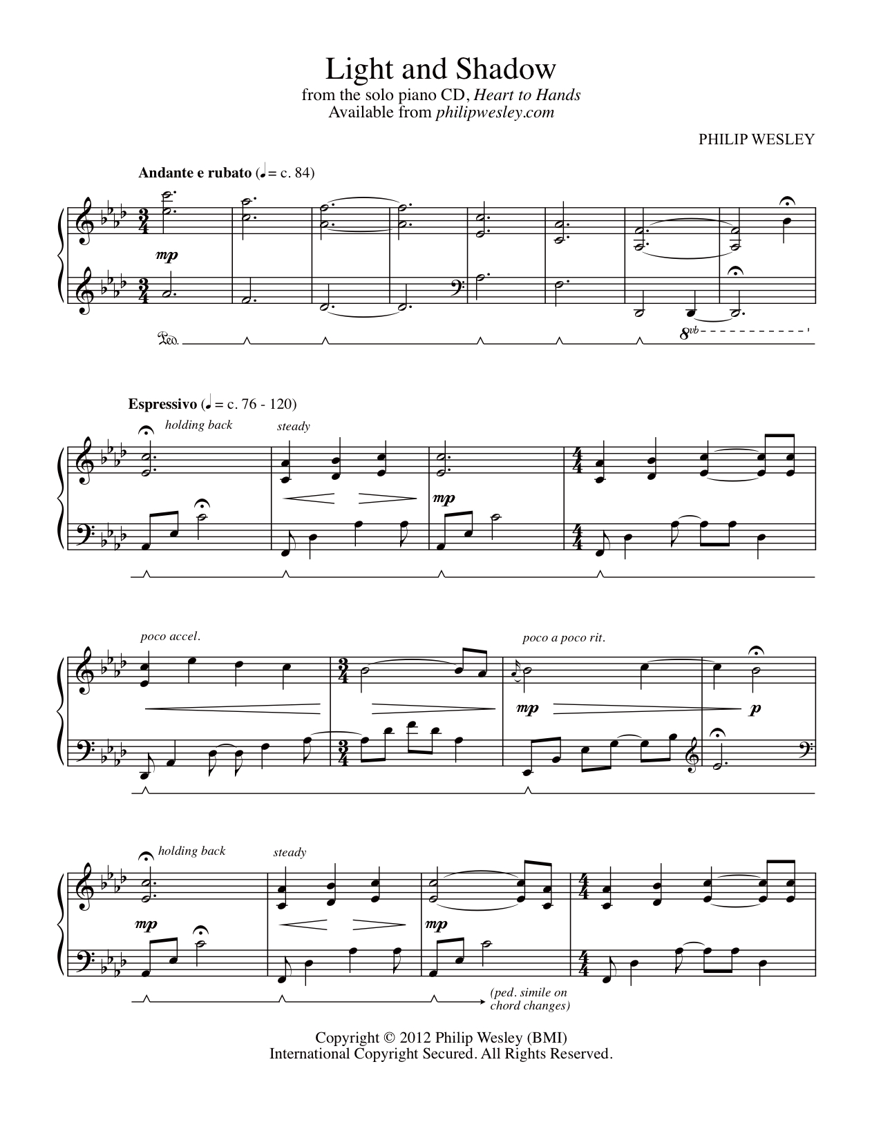 Light and Shadow - Heart to Hands - Sheet Music